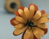 Orange Metal Barbwire Stemmed Flower with Natural Wood Base
