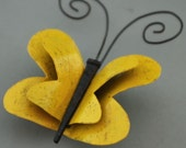 Yellow Metal Butterfly Magnet