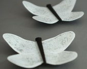 Distressed White Metal Butterfly Magnet Set