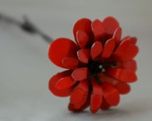 Red Metal Barbwire Stemmed Flower with Natural Wood Base
