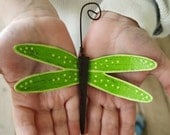 Metal Dragonfly Ornament - Bright Green Apple