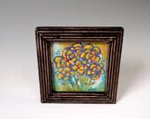 Painting Original Art Flower Wild Flowers Wall Decor Boho Chic Decor Acrylic Wood Framed Yellow Teal Red Green
