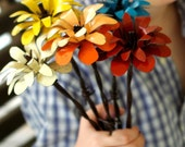 RESERVED for pariser -Three Metal Flowers Barbed Wire Stems Colorful CUSTOM ORDER Up To 18 inches