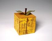 Yellow Distressed Apple Primitive Wood Harvest Fruit Kitchen Decor