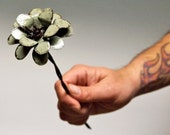 Sage Metal Flower Barbed Wire Stemmed 3d Green Industrial Home Rustic Decor
