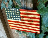 SALE American Flag Painting Rustic Red White Blue Metal Original Painting Patriotic Stars and Stripes