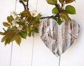 Blue Tin Heart Shabby Chic Door Decor Ocean Blue White Rustic Garden Decoration Ornament