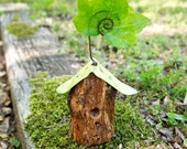Birdhouse Woodland Card Holder Picture Frame Metal Leaf Roof Organic Wood Bird House
