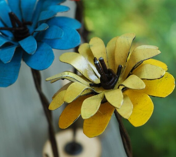 Yellow Metal Barbwire Stemmed Flower with Natural Wood Base