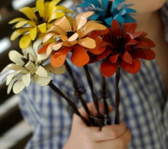 Three barbed wire stemmed flowers custom order