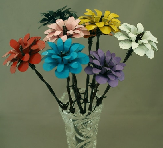 Colorful Metal Flowers Five Barbed Wire Stemmed Flowers