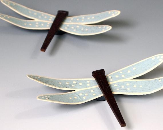 Dragonfly Magnet Set Metal Sky Blue Dragonflies Home Decor