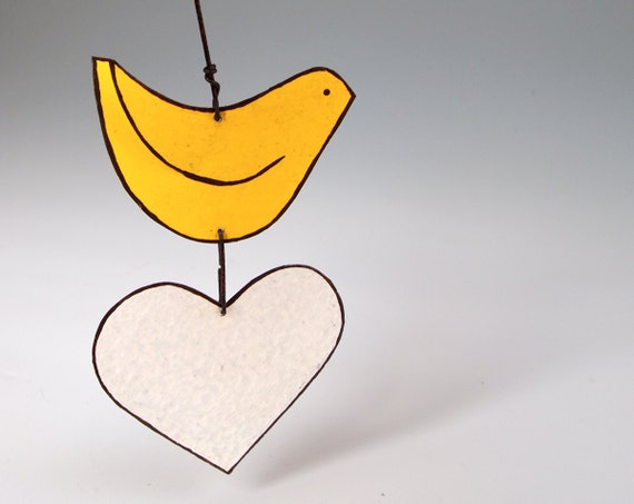 Love Bird Garden Ornament  Home Decor Bright Yellow Bird White Heart Decoration