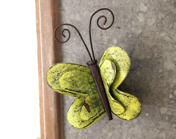 Green Butterfly Wall Art Fridge Magnet 3d Lime Metal Kitchen Home Decor