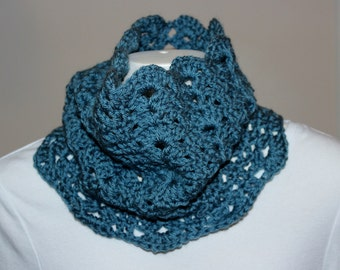 Blue Lacy Cowl - Crochet - Lacy Cowl - Soft Scallops