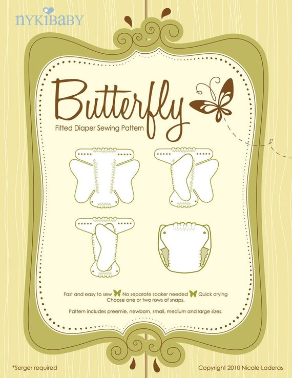 NykiBaby Butterfly Fitted Diaper PDF Pattern