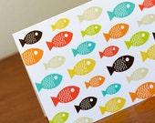 10 Bright Mid Century Modern Fish Blank Greeting Cards - Dennis