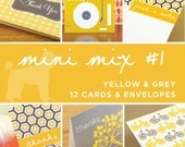 Yellow & Grey Greeting Card Mini Mix - 12 Cards in Assorted Designs