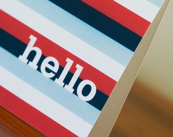 SALE - Recycled Nautical Hello Greeting Cards with Modern Stripes - Abby