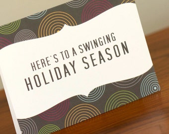 CLEARANCE - 10 Swinging Hip Holiday Greeting Cards - Perfect for Christmas, Hanukkah and More