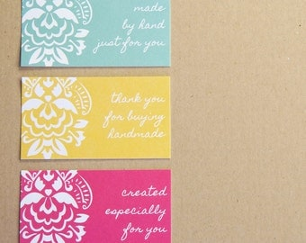 Hot Pink, Yellow and Blue Damask Buy Handmade Mini Enclosure Cards - Nina