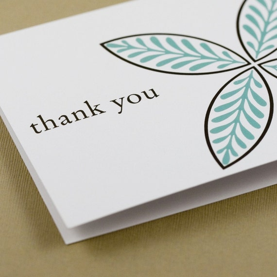 20 recycled Thank You Cards - Chic Blue n Cocoa Modern Motif - Eco-Friendly
