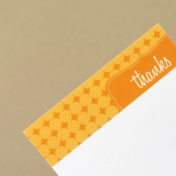 SALE - 10 Bright Orange Juice Thank You Notecards with Op Art Pattern