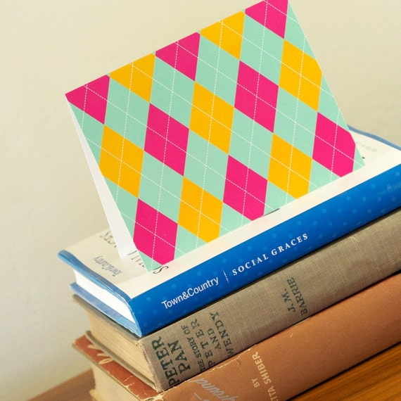 10 Chic Librarian Tiffany Blue Argyle Greeting Cards - Ramsay