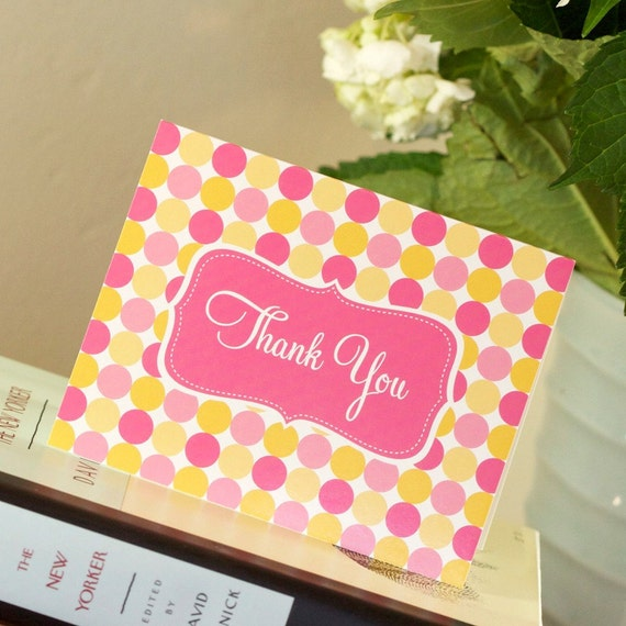 10 Bright Honeysuckle and Beeswax Sweet Thank You Cards - Tabitha