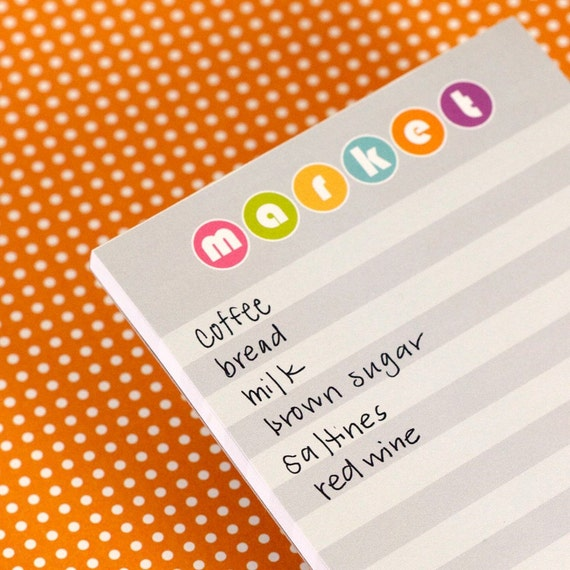 Market Notepad - Gray Striped 80s Inspired Grocery List - Jolene
