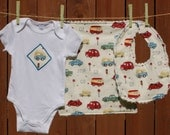 Groovy Van, Cars, Trucks - Baby Gift Set includes bib, burp cloth, baby bodysuit (Available in size NB - 24 months)