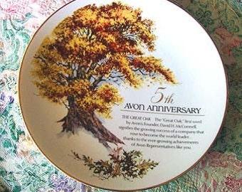 CLEARANCE Vintage AVON Plate 5th Anniv Porcelain Great Oak Tree Mint in Box Unique Collectible