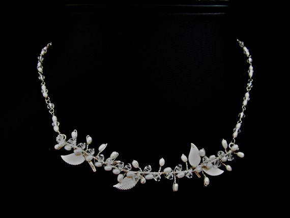 Sterling Silver Leaves - Bridal Necklace, Wedding Necklace