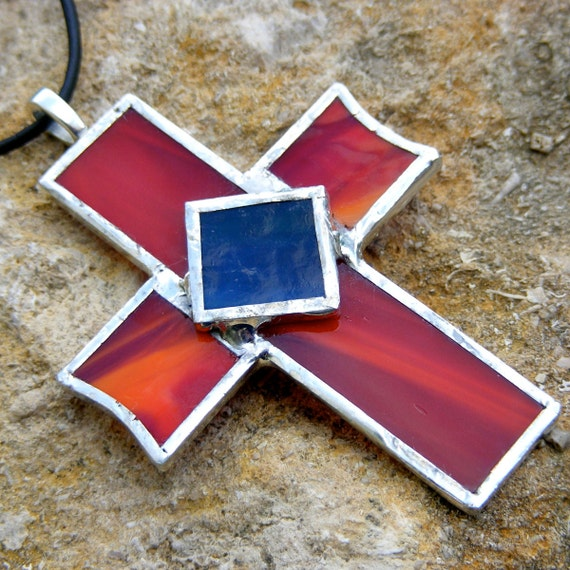 """Chunky 3"""" Carnelian Red Stained Glass Cross Necklace"""