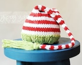 Newborn Baby Knit Christmas Elf Nightcap Hat with Tassel Red White Green Stripes Cotton/Wool