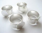 4 Sterling Silver Plated Wide Hammered Ring Bands with Glue Pad