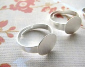 SALE Clearing out stock - 50 Bright Silver Color, Nickel Free and Lead Free Adjustable Rings Bases