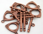 6 Toggle clasps antiqued copper