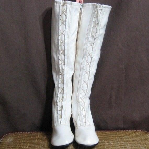 Vtg 70s Go Go Boots Nos Tall White Vinyl Lace Front Sz 7
