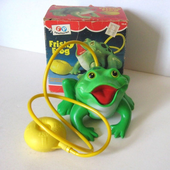 Vintage Toy Fisher Price Frisky Frog 154 Original Box Croaking Sound Hopping Working Mechanical 70s