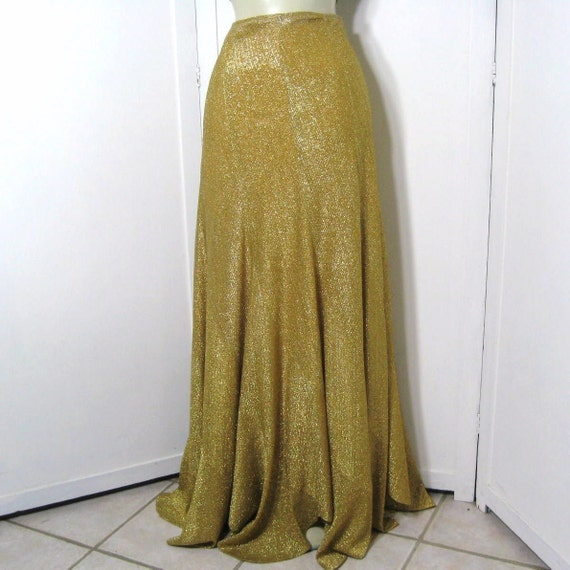 70s Skirt Lame Metallic Gold Bias Cut Gores Swirl Maxi Scalloped Hem Tone on Tone Disco Vintage Beverly Paige Waist 26