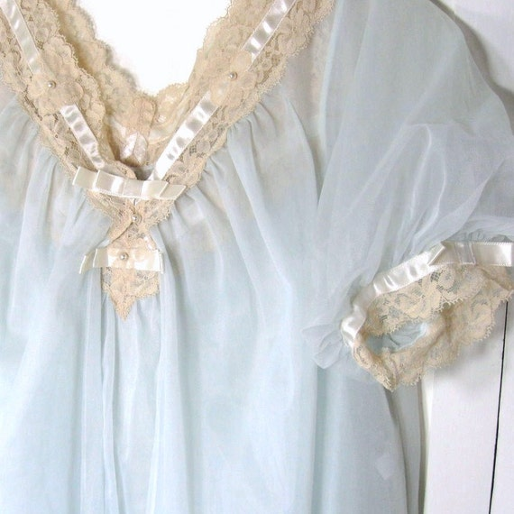 60s Vintage Peignoir Set Negligee Nightgown & Robe 2 Piece Vanity Fair Lingerie Sheer Nylon Chiffon Lace Blue Bust up to 36