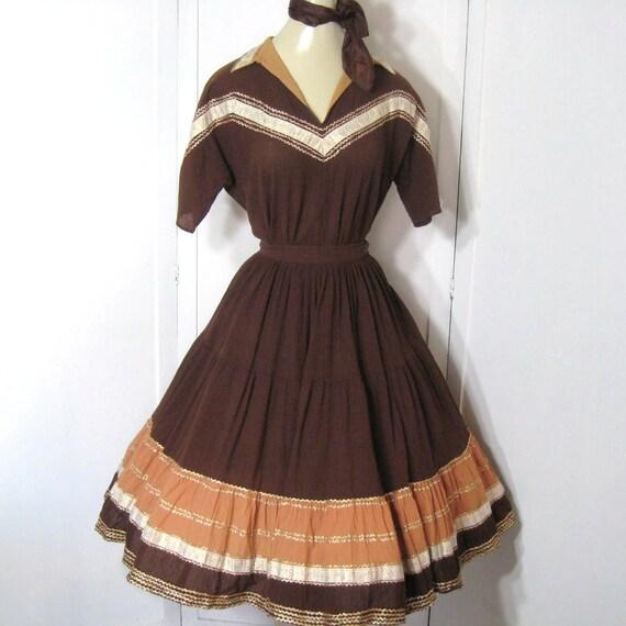 Reserved GorehoundX 50s 60s Dress Squaw Dress Vintage Circle Skirt & Blouse Brown Cotton Metallic Rick Rack Two Piece Patio Set Bust 36