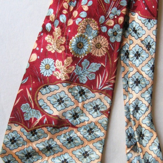 Vintage 40s 50s Necktie Rayon Glossy Floral Regal Cravat Wide Tie Swing Red Blue Peach