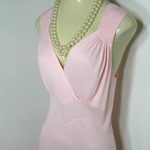 Reserved ShanStar22 30s 40s Nightgown Vintage Bias Cut Pink Rayon Full Length Deep V Neck Wide Straps Kickernick Restware Bust 36