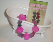 Pink stones bracelet and ear rings set
