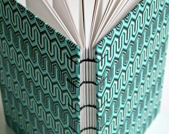 Coptic stitch Turquoise  Zig Zag cover