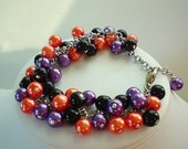 SALE ONLY ONE Orange Purple and Black Pearl Halloween Cluster Beaded Bracelet Set