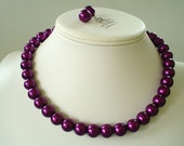 Chunky  Magenta Glass Pearl Beaded Necklace and Earring Set    Great Brides or Bridesmaid Gifts