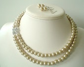 Two Strand Champagne Pearl with Square Rhinestone Pendant Beaded Necklace and Earring Set    Great Bridesmaid Gifts